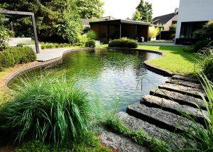 Moderne achtertuin met strakke vijver